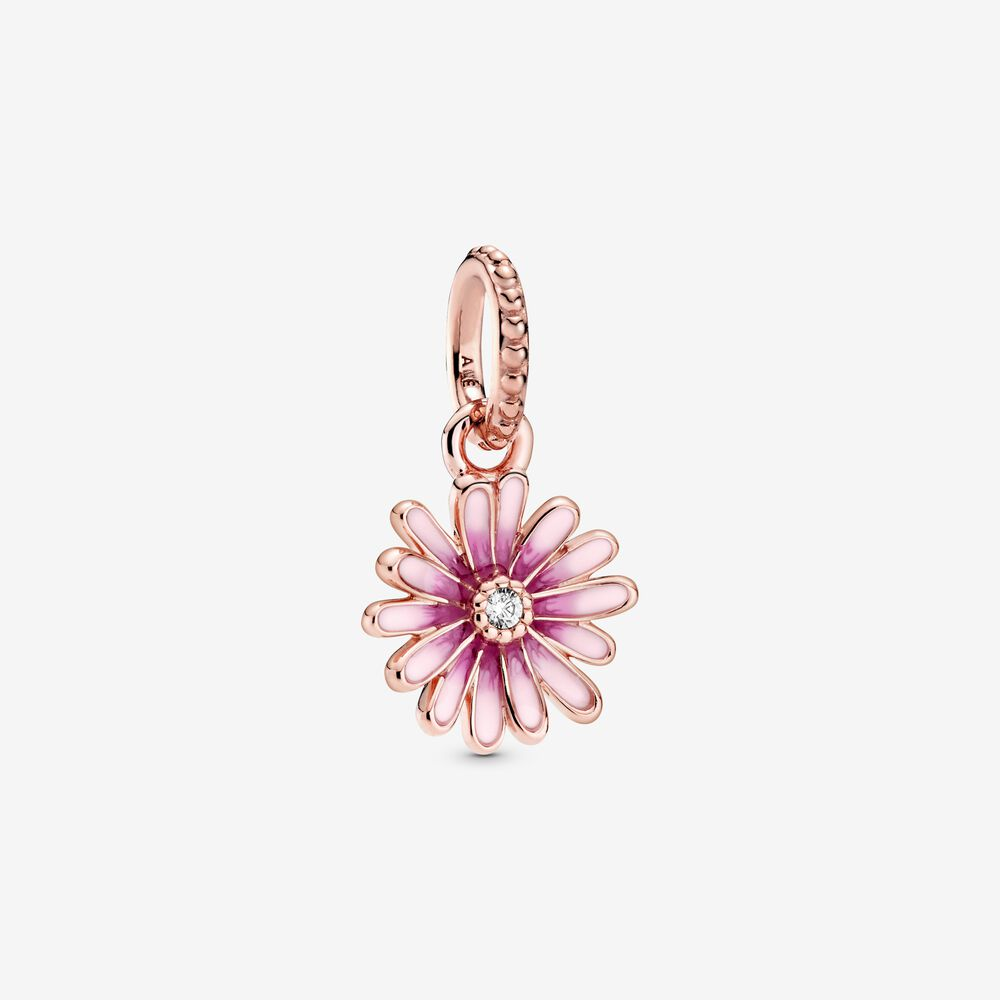 Pandora Pink Daisy Flower Dangle Charm