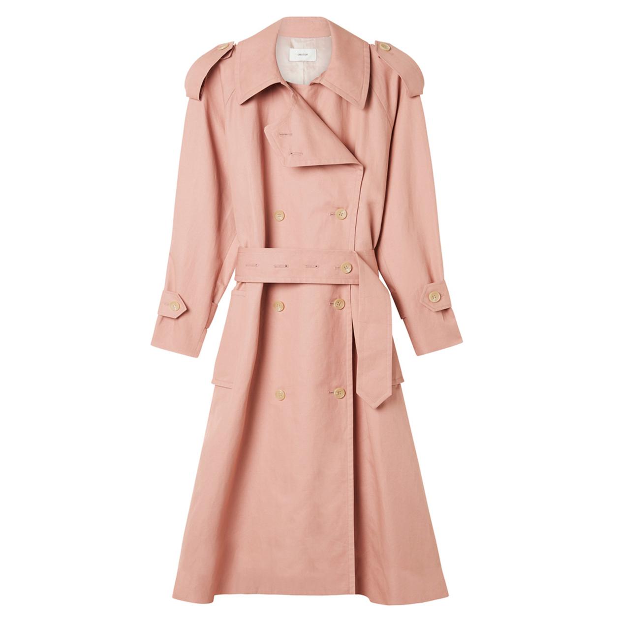 Oroton Cotton-Linen Button Detail Trench Coat