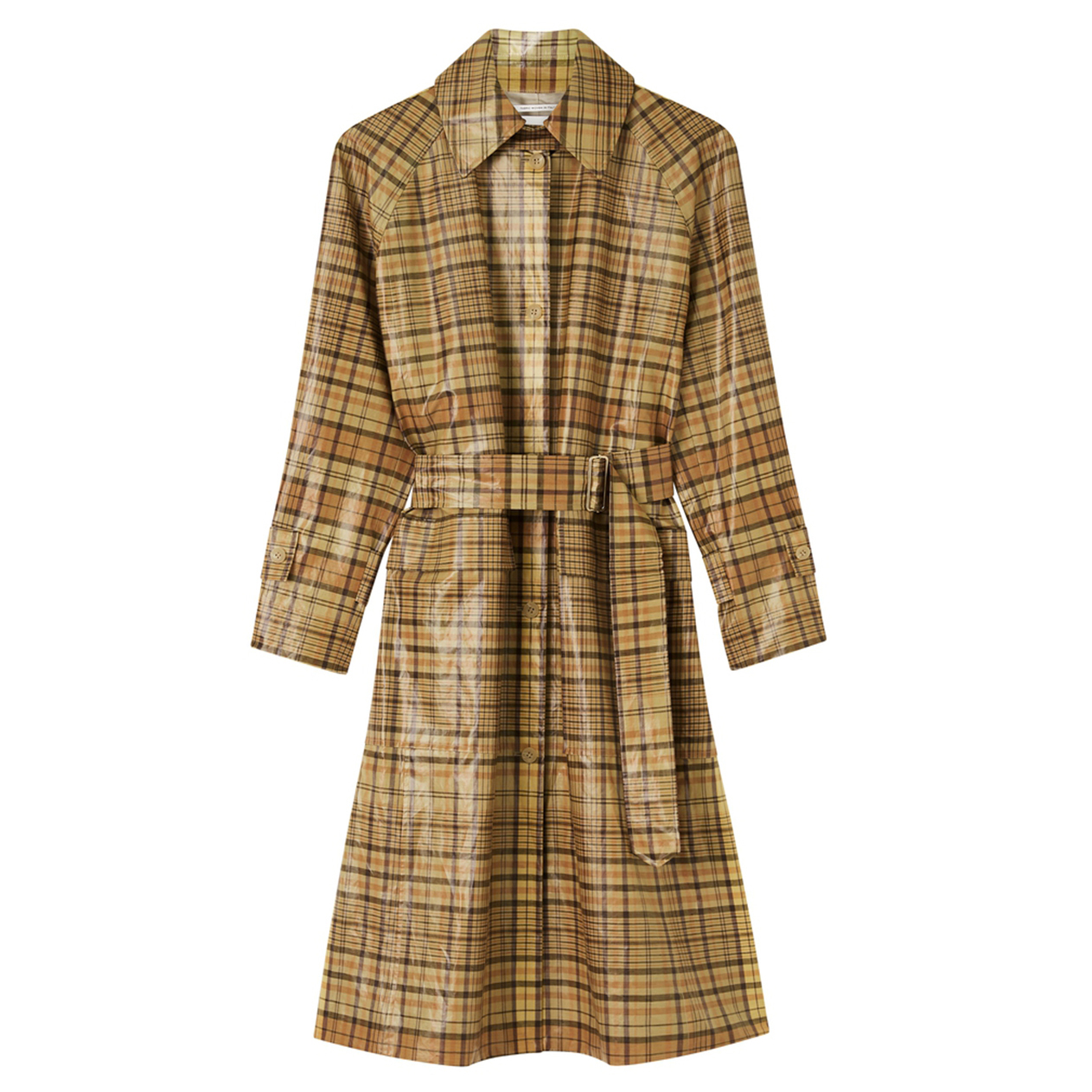 Oroton Coated Cotton-Linen Check Trench Coat