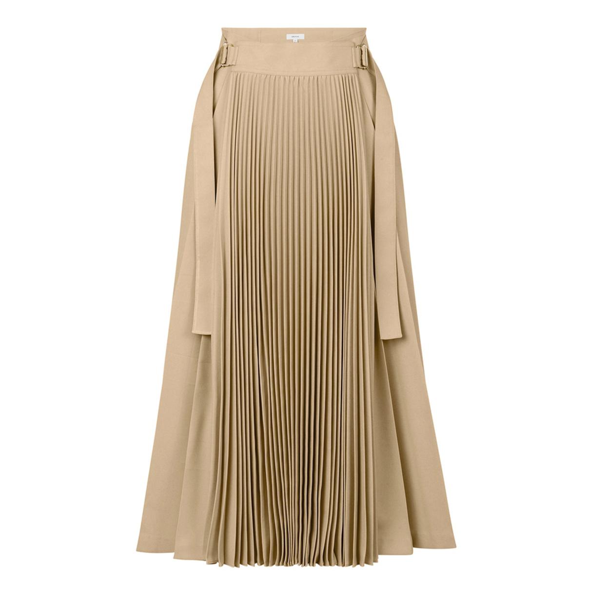 Oroton Tab Detail Contrast Pleat Skirt