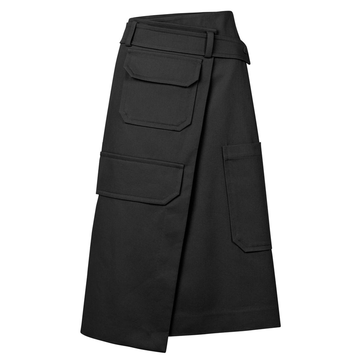 Oroton Cotton Pocket Detail Utility Wrap Skirt