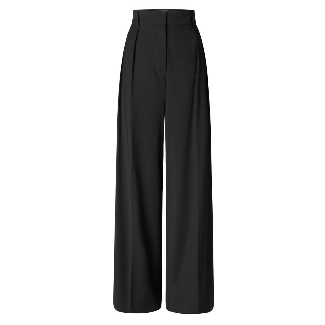 Oroton Wool-Blend Wide Leg Tabbed Pant