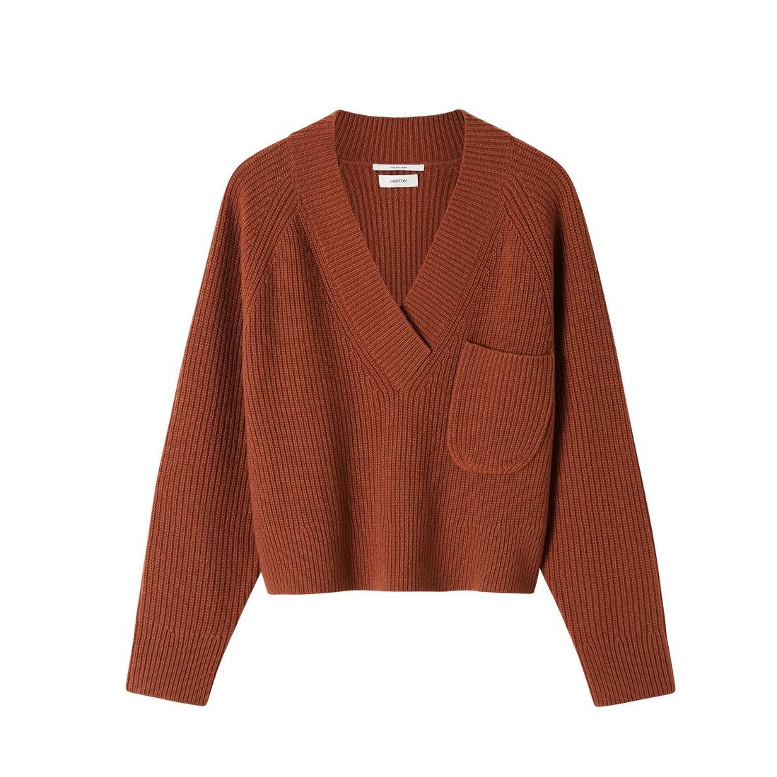 Oroton Wool V-Neck Rib Knit Sweater