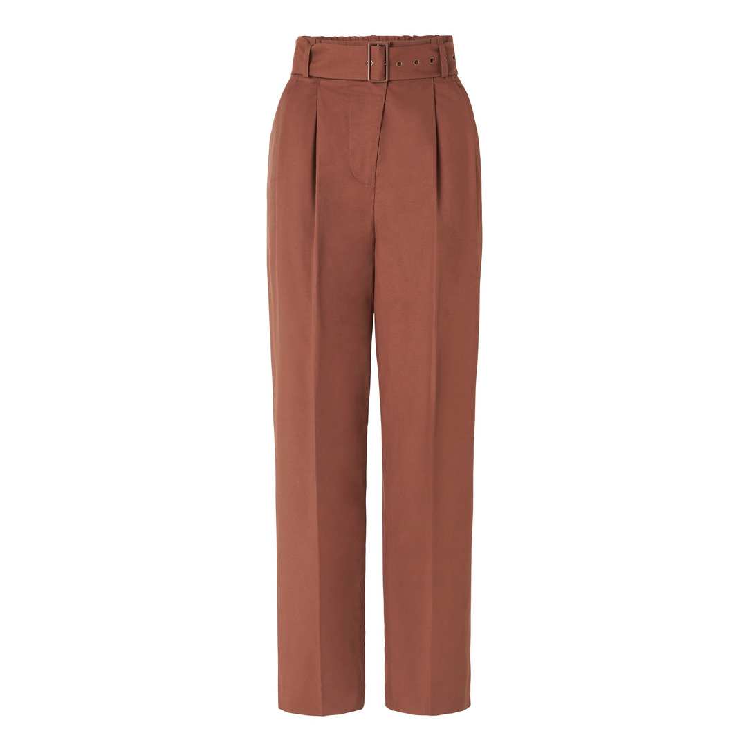 Oroton Cotton Nylon Belted Wide Leg Pant