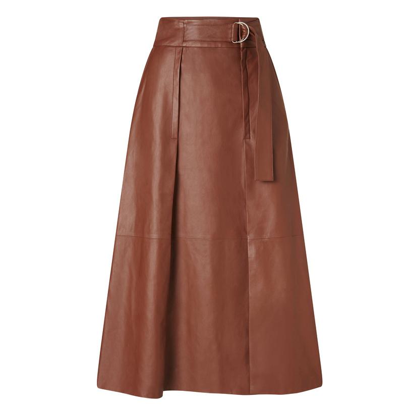 Oroton Leather Tab Detailed Skirt